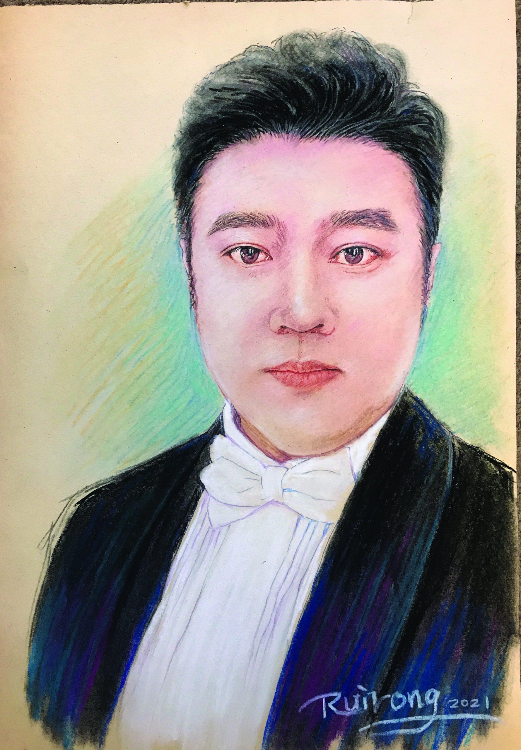 瑞荣画笔下曾经迷倒千百位老年声乐爱好者的——毛伟钊